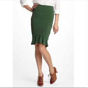 HD In Paris Emerald Green Ruffle Pencil Skirt
